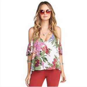Show Me Your Mumu Hazel Ruffle Top Floral Blouse S